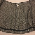 DKNY Wool Pleated A-line Mini Mini Skirt black and cream Plaid with leather strap Image 4