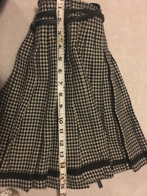 DKNY Wool Pleated A-line Mini Mini Skirt black and cream Plaid with leather strap Image 5