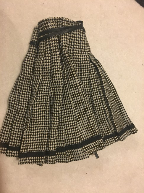 DKNY Wool Pleated A-line Mini Mini Skirt black and cream Plaid with leather strap Image 6