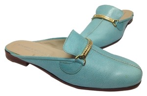 Stubbs & Wootton Leather Flat Chic Classic Preppy Aqua Mules