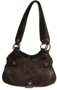 Cole Haan Leather Suede Satchel in Chocolate Brown