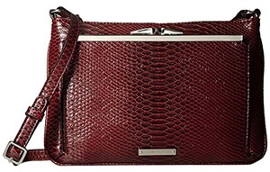 Nine West Snake Print Deep Red Faux Leather Cross Body Bag