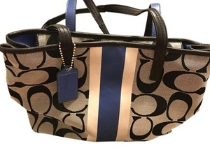 Coach Tote in Black, White, & Blue