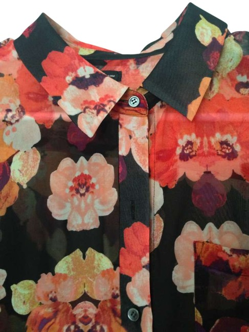 Madewell Summer Button Down Shirt Black floral