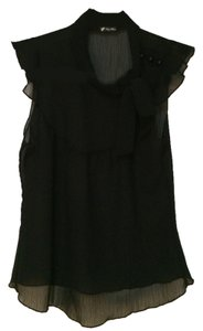 Lily White Sheer Necktie Top black