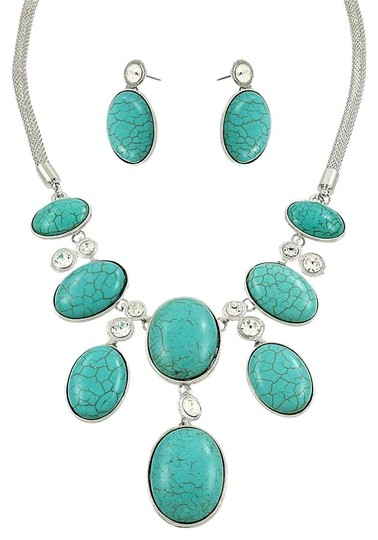 Preload https://img-static.tradesy.com/item/20185640/silver-rhodium-turquoise-clear-with-rhinestone-crystal-accent-and-earrings-necklace-0-1-540-540.jpg