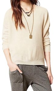 Anthropologie Comfy Sweater Front Chiffon Back Boxy Pullover Super Unique Top Ivory