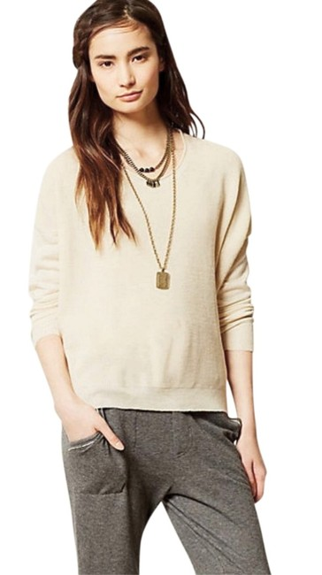 Anthropologie Comfy Sweater Front Chiffon Back Boxy Pullover Super Unique Top Ivory Image 3