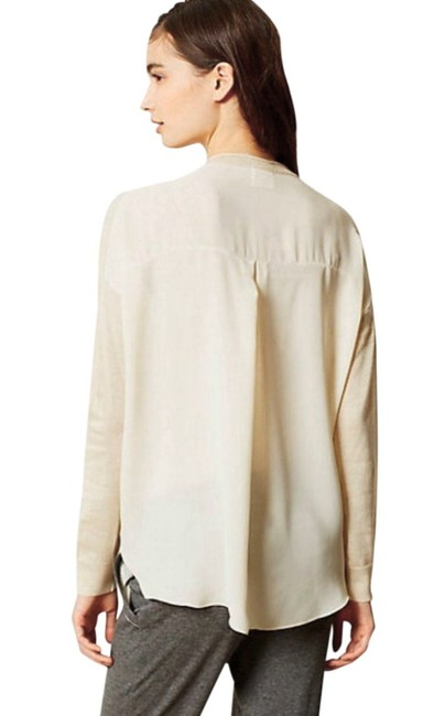 Anthropologie Comfy Sweater Front Chiffon Back Boxy Pullover Super Unique Top Ivory Image 5