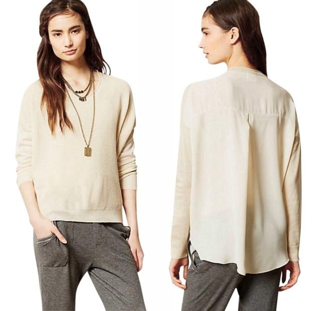 Anthropologie Comfy Sweater Front Chiffon Back Boxy Pullover Super Unique Top Ivory Image 7