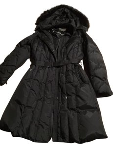 Marc New York Puffycoat Hood Fox Fur Belted Coat