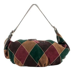 Valentino Striking Harlequin Pattern Zig-zag Top Stitch Vibrant Jewel Tones Sling Duffel Hobo Bag