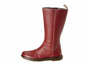 Dr. Martens Kim Tall Leather Flat Red Boots