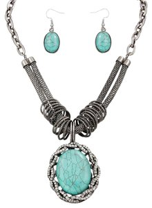 Other Turquoise Silver Necklace Pendant and Earring Set