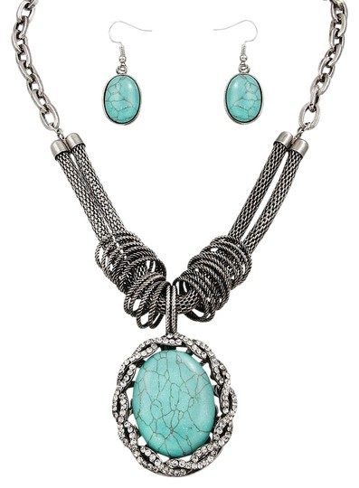Preload https://img-static.tradesy.com/item/20185800/silver-turquoise-pendant-and-earring-set-necklace-0-1-540-540.jpg