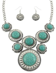 Turquoise Silver Necklace Pendant and Earring Set