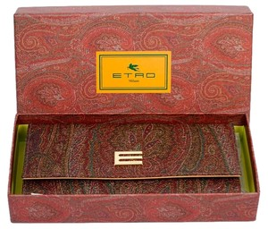 Etro Brown Calf Leather and Cotton Blend Paisley Wallet