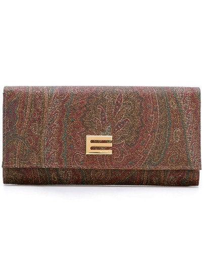 Etro Brown Calf Leather and Cotton Blend Paisley Wallet Image 2