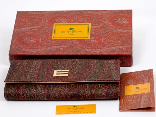 Etro Brown Calf Leather and Cotton Blend Paisley Wallet Image 3
