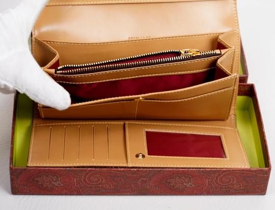 Etro Brown Calf Leather and Cotton Blend Paisley Wallet Image 4