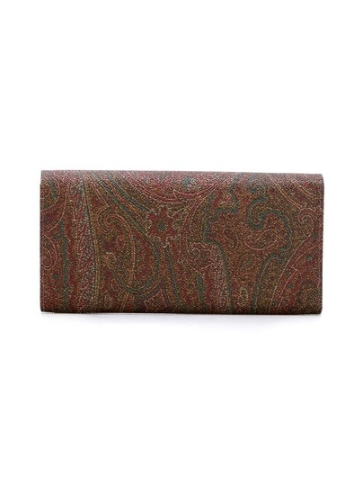 Etro Brown Calf Leather and Cotton Blend Paisley Wallet Image 5