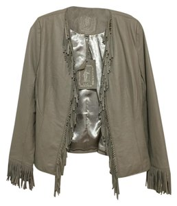 My Tribe Leather Fringe Fall Taupe Leather Jacket