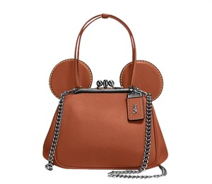 Coach Mickey Mouse Satchel in Brown, Dark Saddle