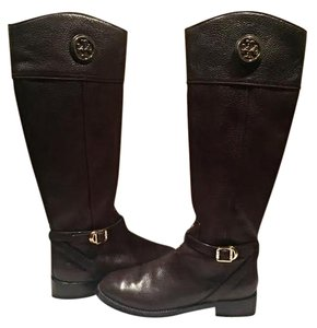 Tory Burch Pebbled Leather Coconut Brown Boots