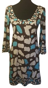 Diane von Furstenberg short dress Multi-color, Brown, Cream, Turquoise Vintage Silk Midi Print on Tradesy