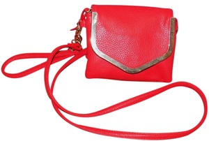 Charming Charlie Faux Leather Gold Hardware Pebbled Bold Strap Cross Body Bag