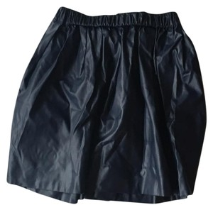 MSGM Leather Luxe Trendy Cool Mini Skirt navy