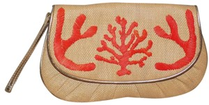 Felix Rey Bold Nautical Bright Embroidered Embellished Beige, blue, white Clutch