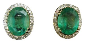 Other SALE 2.67CT NATURAL UNTREATED EMERALD&DIAMOND 10K GOLD EARRINGS