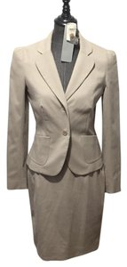 Neiman Marcus Neutral Taupe Graydn Skirt Suit
