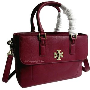 Tory Burch Mercer Mini Leather Satchel in Shiraz (Burgundy)