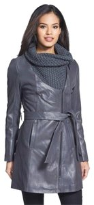 Elie Tahari Motorcycle Wool Leather Trench Coat