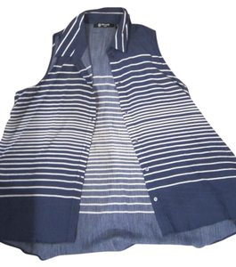 Milano petite Button Down Shirt navy blue and white