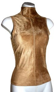 Other Faux Faux Turtleneck Top beige bodycon ultra suede