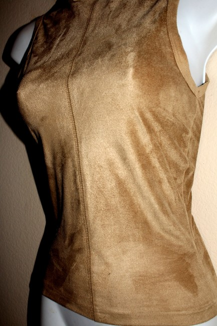 Other Faux Faux Turtleneck Top beige bodycon ultra suede Image 3