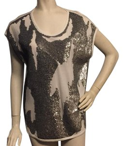 Robert Rodriguez Top Silver sequins white tee
