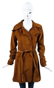 Balenciaga Cognac Suede Long Belted Brown Jacket