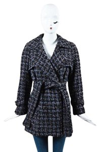 Chanel 06a Black Long Tweed Jacket Pea Coat