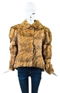 Fendi Tan Ombre Fur Hidden Closure Long Sleeve Coat