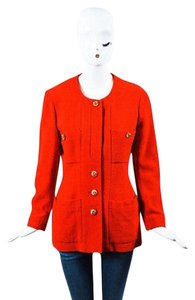 Chanel Vintage Boutique Gold Cc Buttoned Tweed Red Jacket