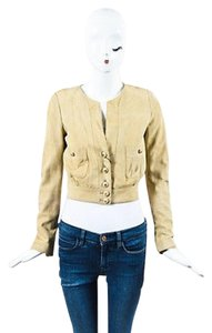 Chanel Vintage Boutique Suede Buttoned Cropped Beige Jacket