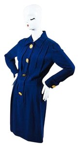 Chanel short dress Blue Boutique Navy Pleated Oversized Gold Button Long Sleeve on Tradesy
