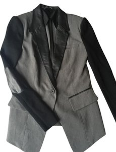 Cut25 Leather Lapel Tailored Gray and Black Blazer