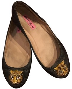 Betsey Johnson Rhinestone Leather Hearts Black Flats