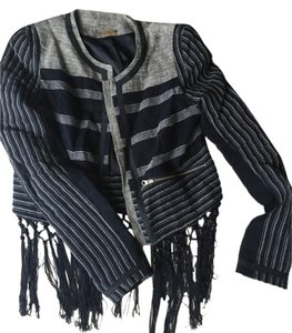 Rebecca Minkoff Striped Linen Fringe Navy Jacket