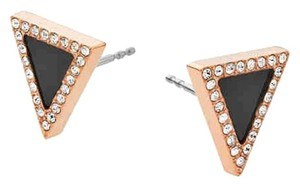 Michael Kors MKJ4366 Michael Kors Women Triangle Stud Earrings Rose Gold Onyx CZ